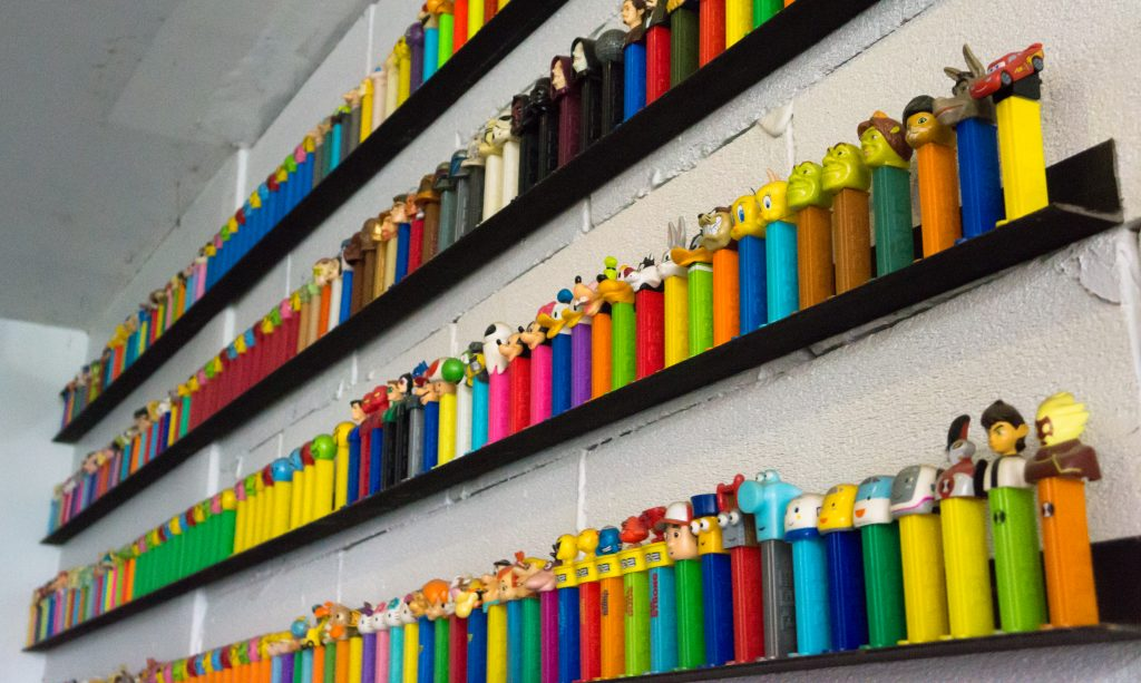 Pez dispenser display at Impresso Espesso Bar