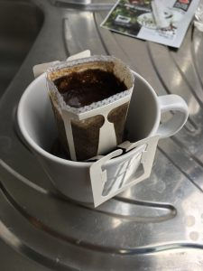 pre ground pour over coffee in a cup