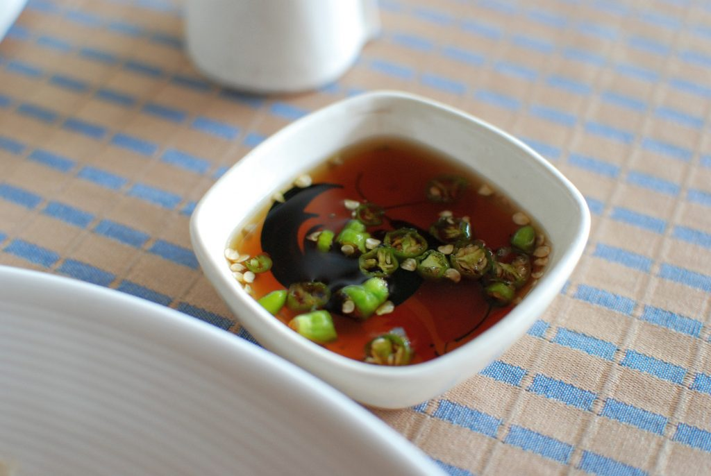 Thai ingredient fish sauce mixed with chillies and lime makes a tasty dipping sauce