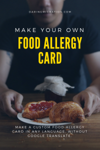 make a food allergy card with a man holding a crumby croissant