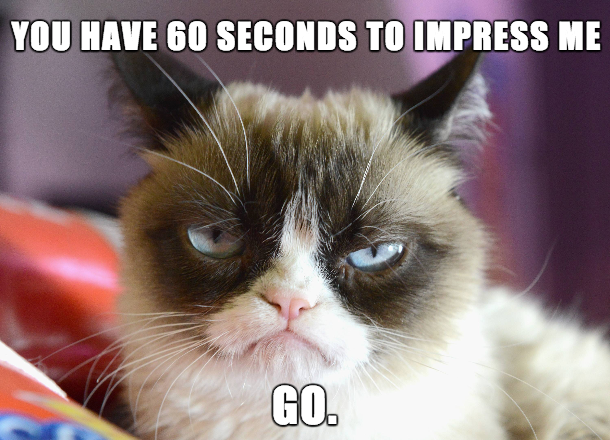 grumpy cat saying you have 60 seconds to impress me, because you only have a minute to get your server to understand your food allergy needs