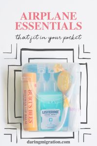 A pocket sized kit of travel essentials to use on your next flight.